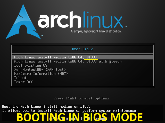 Arch Linux Booting in BIOS Mode