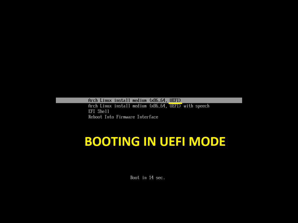 Arch Linux Booting in UEFI Mode
